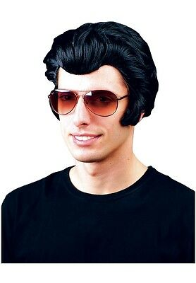 Elvis Rocker Fancy Dress Wig Black 50s 70s Disco Dancing Grease John Travolta