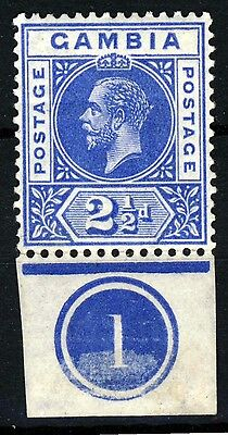 GAMBIA King George V 1921 to 1922 2½d.Bright Blue WITH PLATE NUMBER SG 112 MINT