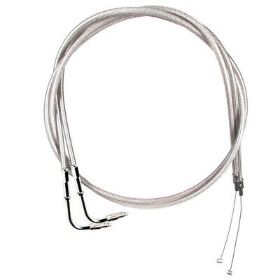 "Stainless Braided +6"" Throttle Cable Set 1996-2001 Harley Touring Marelli Inj."