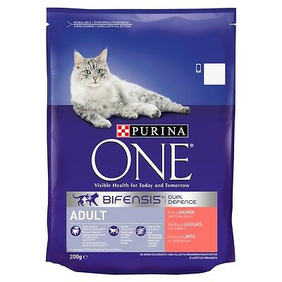 Purina ONE Adult Salmon and Whole Grains Dry Cat Food - 200g