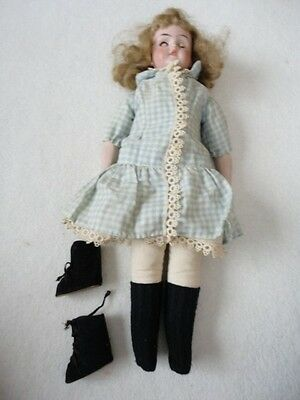 Vintage Cloth Doll Bisque Head, Arms & Hands Legs Are Attached With Buttons