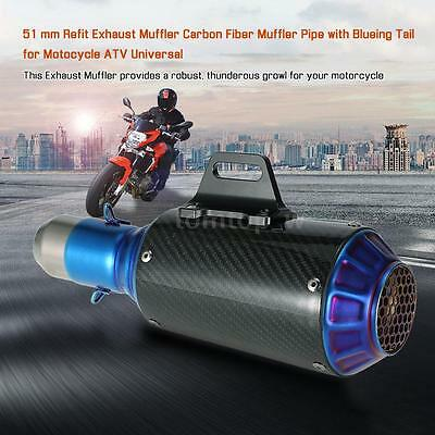 Cool Universal 51mm Motorcycle Refit Exhaust Muffler Kits Carbon Fiber Pipe