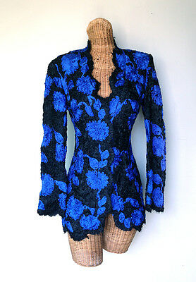 VTG 80s DANIEL MIEXEL Blue Black Ribbon Embroidered Dressy Evening Jacket 6 S
