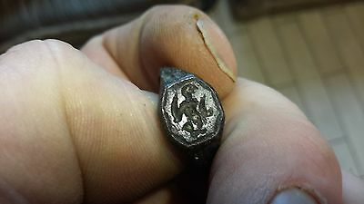 1600s Warrior With Swords Bronze Seal Ring-Detecting Find