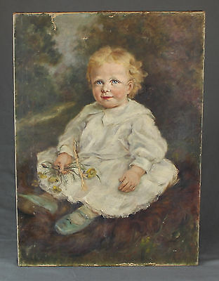 19th Century Oil Painting Signed Portrait Young Child For Restoration