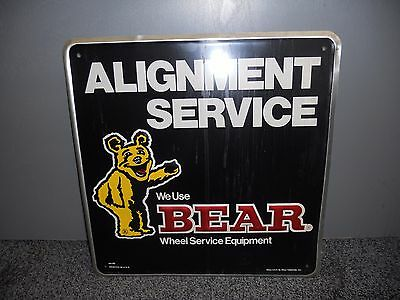 "Vintage Bear ALIGNMENT SERVICE  Gas Station Oil 16"" Embossed Metal Sign"