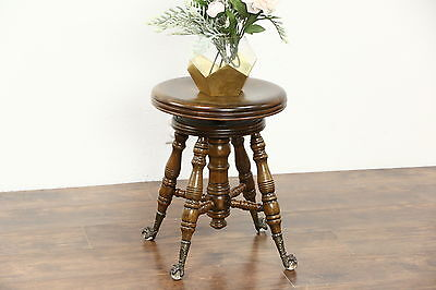 Victorian Antique Swivel Adjustable Piano or Organ Stool, Glass Ball Feet