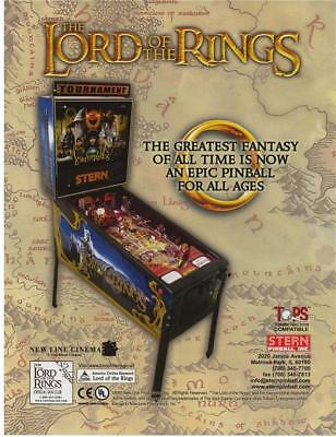 Stern LORD OF THE RINGS Original 2003 NOS Flipper Game Pinball Machine Flyer Adv
