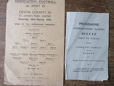 Two 1940s Army or RAF friendly progs 1942 Army XI at Exeter 1945 RAF XI at Poona