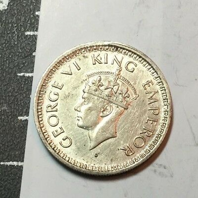 INDIA 1944-B 1/4 rupee small silver coin about  uncirculated