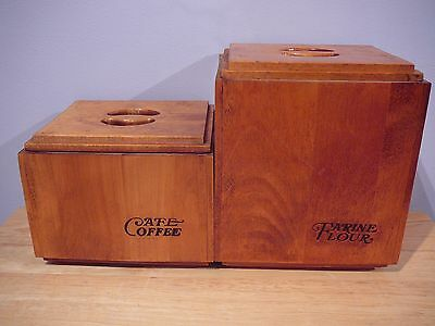 60's 70's 2 BARIBOCRAFT BARIBO-MAID WOOD CANISTERS FLOUR COFFEE A103