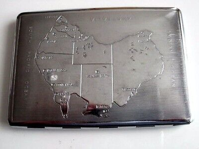art deco chrome cigarette case with map of Australia