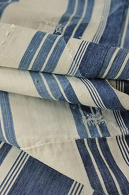 Ticking French PRIMITIVE  18th  1700's indigo blue old pillow cover Bolster