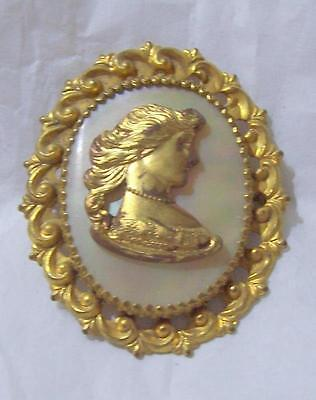 Goldtone and Mother Of Pearl Vintage Cameo