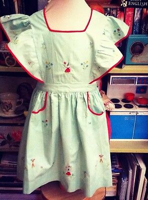 VINTAGE 1940s 1950s GIRLS PINAFORE DRESS SUPER CUTE EMBROIDERY AGE 3 4 5