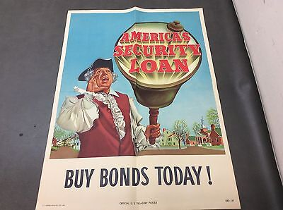 "1948 Official U.S. Treasury Poster 26""x18.5"" America's Security Loan Patriot"