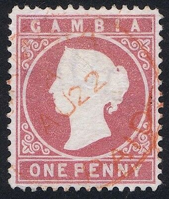 Gambia 1880 SG 12A 1d Maroon Watermark SIDEWAYS Used RARE
