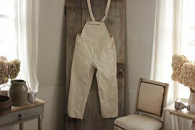 Vintage 40 w French OVERALLS dead stock  natural canvas  work wear chorewear 40