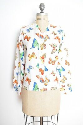 vintage 70s top white butterfly print button up shirt blouse top hippie M