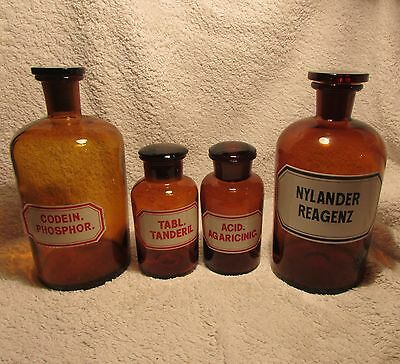 4 X Chemist/apothecary Bottles And Stoppers