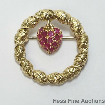 Highest Quality Tiffany Co 1960s 18k Gold Natural Ruby Wreath Pin Brooch
