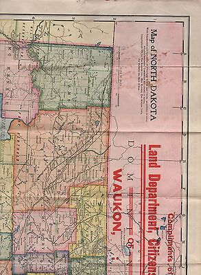 1910 Color Folding Pocket Map of North Dakota by Land Dept Wauken Iowa