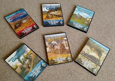 Set Of 6 South American Steam Railway Dvd's:magnificent Steam Engines & Railways