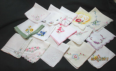 Lot of 15 Vintage Small Size Handkerchiefs Hankies w/ Embroidered Flowers VGC