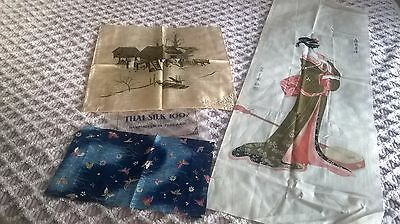 2 pretty pieces of oriental silk fabric and one large of  geisha girl in cotton