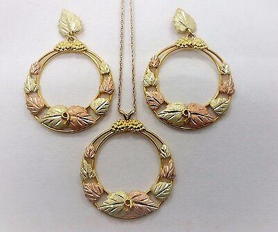 Three piece Black Hills Gold Jewelry Set all 10kt including 10kt gold chain
