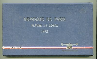 France FDC Paris mint issued 1975 Set in blue box (9) coins  lotfeb5798