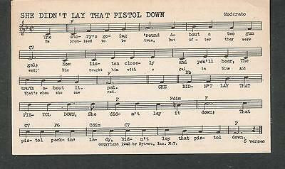 Tune-Dex performing rights info card- She Didn't Lay That Pistol Down- Lee Pearl