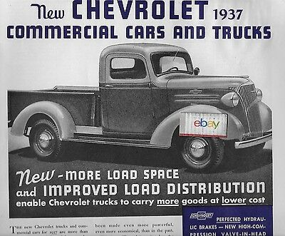 Chevrolet Commercial Cars & Trucks 1937 More Load Space Pickup Truck Ad