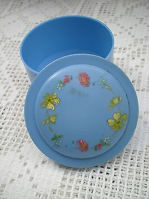 Vintage Blue with Pretty Painted Flowers Small Bakelite Plastic Trinket Box Pins