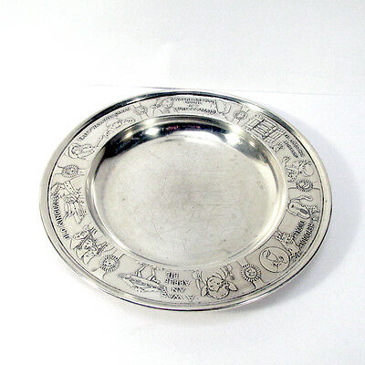 Antique Sterling Silver Nursery Rhyme Baby Plate