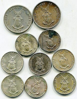 Philippines 1944 & 45 silver coins lot of (10) 10 & 20 Centavos  lotfeb5831