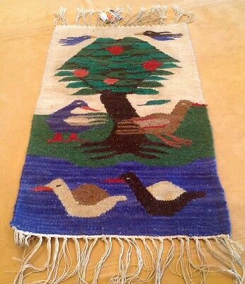 Vintage Hand Woven Wall Hanging Tapestry, Southwest, Birds, Trees, Jute, Cotton