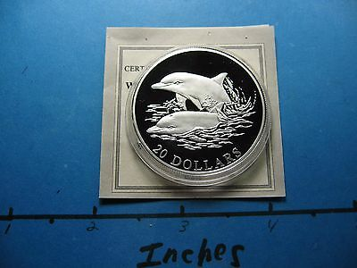Dolphin Sea Mammal 2006 Liberia $20 Sharp 999 Silver Coin Coa Few On Ebay P12