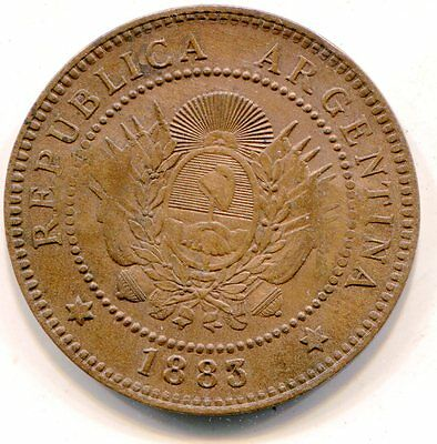 Argentina Centavo 1883 with G B counter stamped maverick ranch token? lotfeb5772