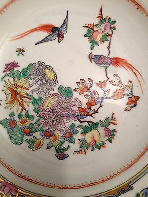 Beautiful old and painted Chinese bowl with birds and a butterfly rim