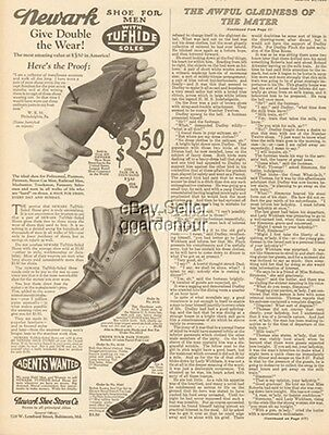 1925 Newark Shoe Stores Co Baltimore MD Men's Footwear/Boots 1920s Fashion Ad