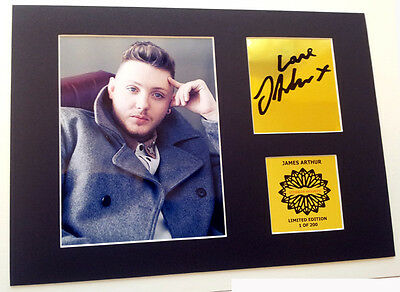 James Arthur mounted gold signed pre print 12 x 8 in limited gold edition