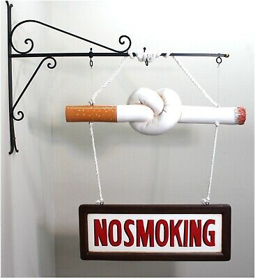 Vintage NO SMOKING twisted cigarette SIGN old fashioned Shop Store Cigar