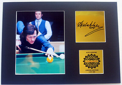 Alex Higgins mounted quality Autographed Print 12 x  8 in limited edition