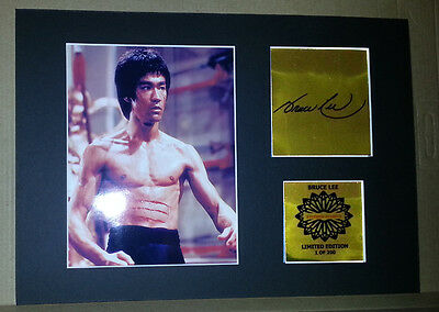 Bruce Lee mounted quality signed pre print 12 x  8 in gold  limited edition