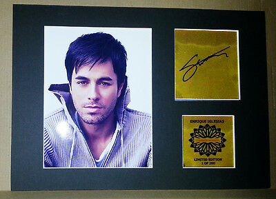 Enrique Iglesias mounted quality signed pre print 12 x  8 in gold limited ed