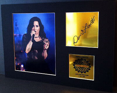 Demi Lovato  mounted quality signed pre print 12 x  8 in gold limited edition