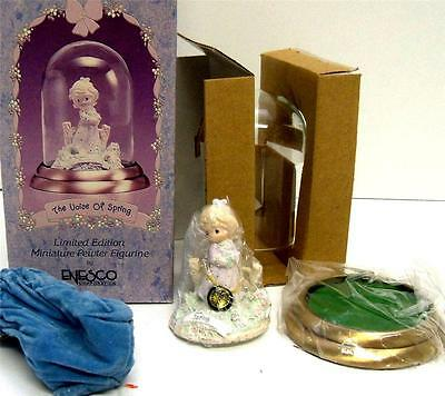 """Enesco PRECIOUS MOMENTS """"REFLECTIONS THE VOICE OF SPRING"""" Mini Pewter Figurine"""