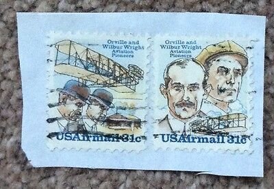 Two Different Used US Airmail 31 Cent Stamps Showing The Wright Brothers