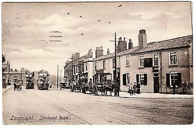 Postcard Trams-Oclee Dentist-Horse Drawn Carriages-Stockport Road-Longsight 1914